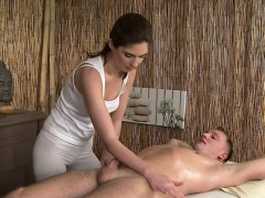 Bare dude gets cock massage...